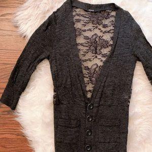 Dark Gray Lace Cardigan